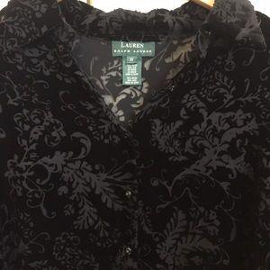 Ralph Lauren Velvet/Silk Burnout Blouse - 1X